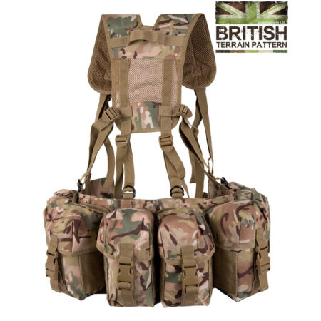 img-Army Military Combat Full British Webbing Belt Set Airborne Assault Vest BTP New