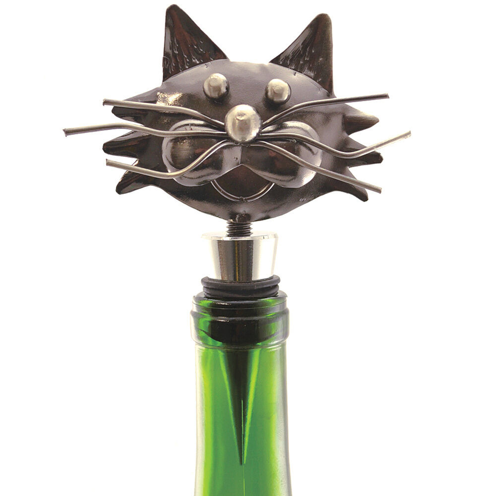 NEW Decorative Whimsical Metal Kitty Cat Wine Bottle ...