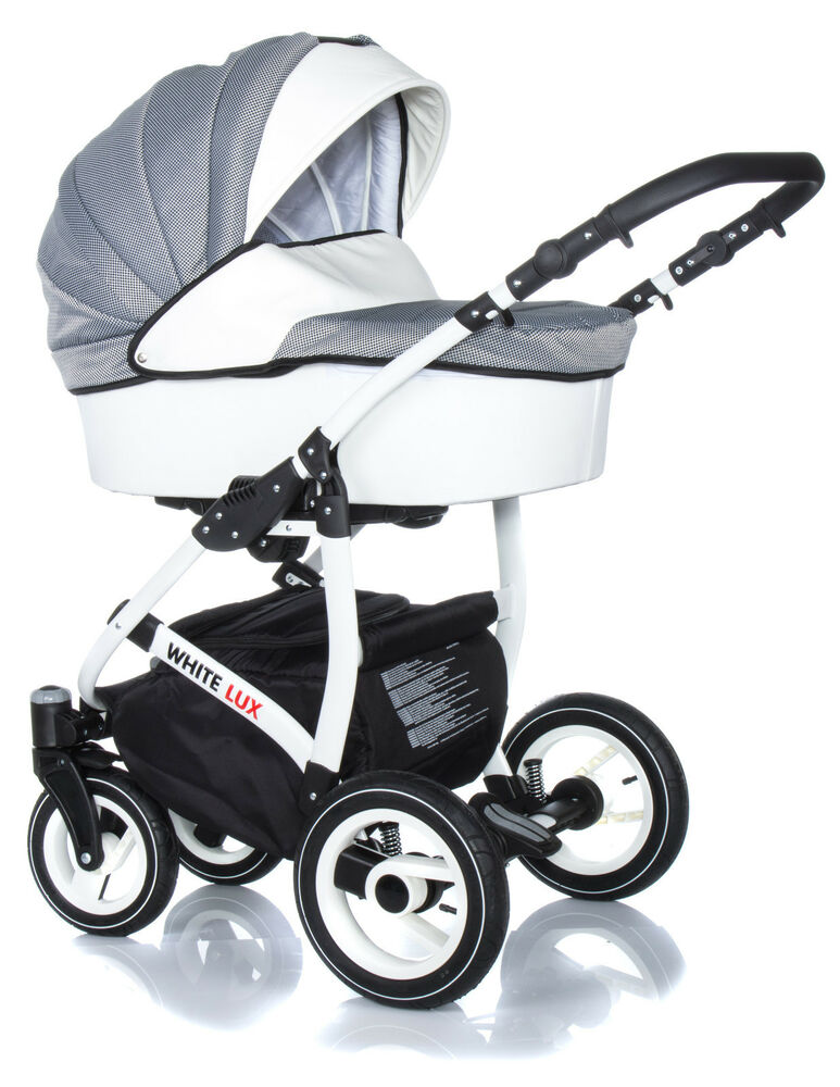 sale baby pram stroller buggy pushchair white lux travel system 3in1 bag ebay. Black Bedroom Furniture Sets. Home Design Ideas