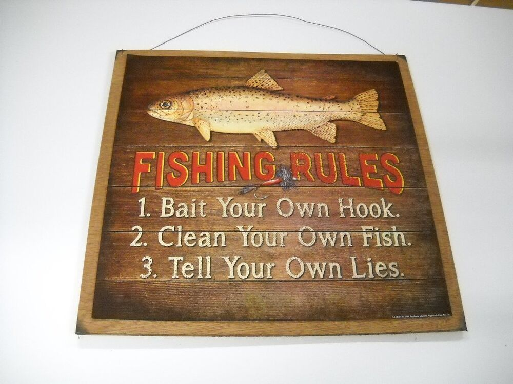 Fishing rules wooden wall art sign lake lodge hunting for Fishing decor for man cave