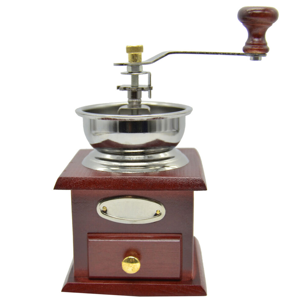 Hand Coffee Grinder ~ Vintage manual hand crank wooden metal herb burr mill