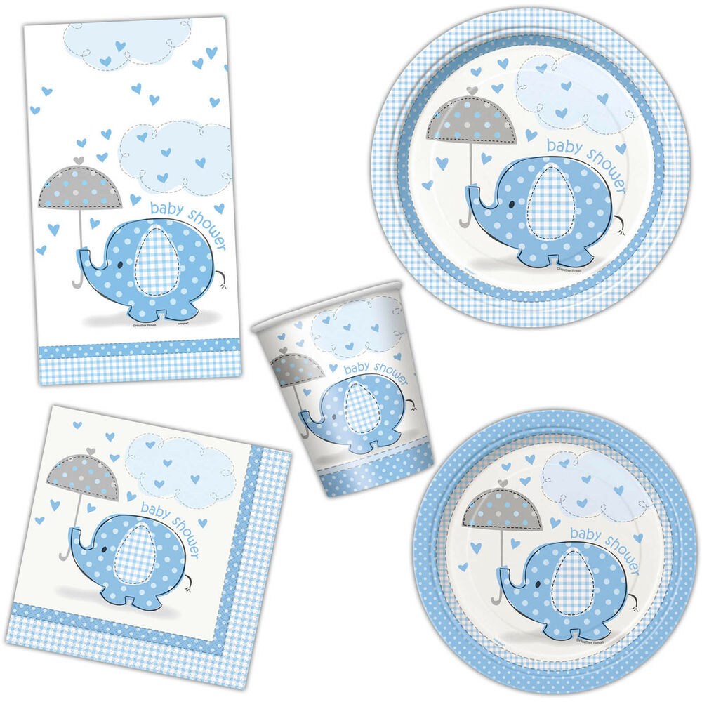 Baby Shower Plate: Boy's BLUE ELEPHANT Baby Shower Party Plates Cups Napkins