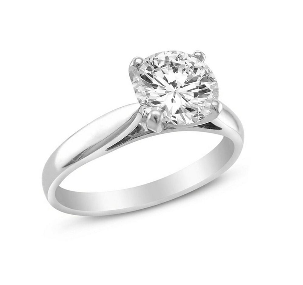 Engagement Rings Round Cut: 1.00 Ct Round Cut Solitaire Engagement Wedding Ring Solid