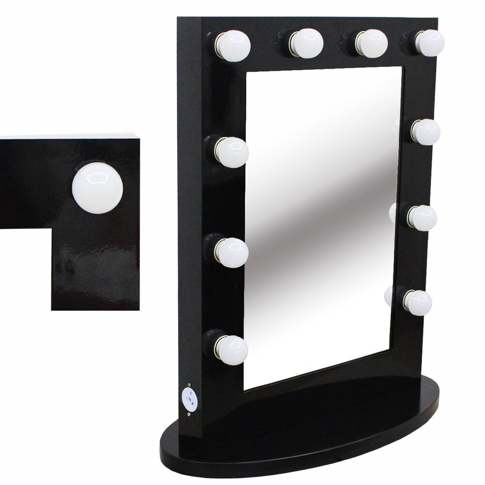 hollywood tabletops lighted makeup mirror vanity black dimmer free 12 led bulbs ebay. Black Bedroom Furniture Sets. Home Design Ideas