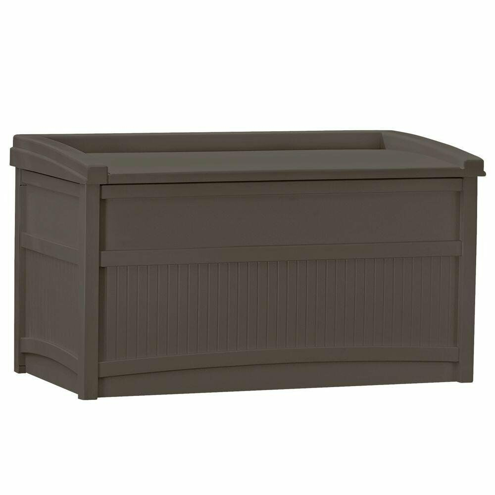 Suncast 50 gal resin deck box outdoor garden patio for Outdoor plastic bench seats