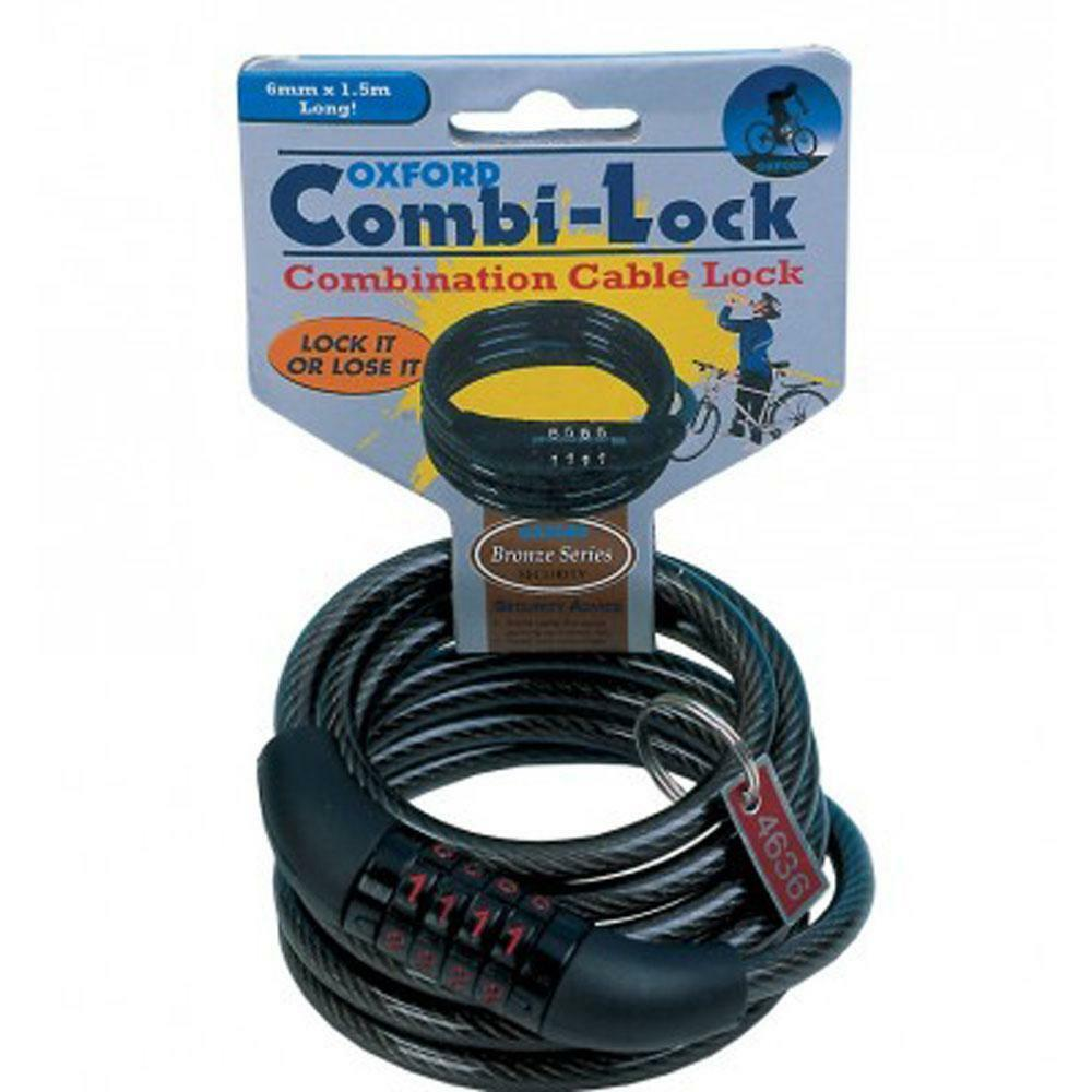 c442892cb7a Details about Oxford Essential Cycle Lock Combination 6 x 1500mm Bike Cable  lock - Black
