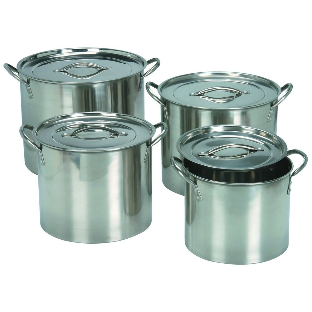 stainless steel four piece covered stockpot set with lids 4 cooking stock pots ebay. Black Bedroom Furniture Sets. Home Design Ideas