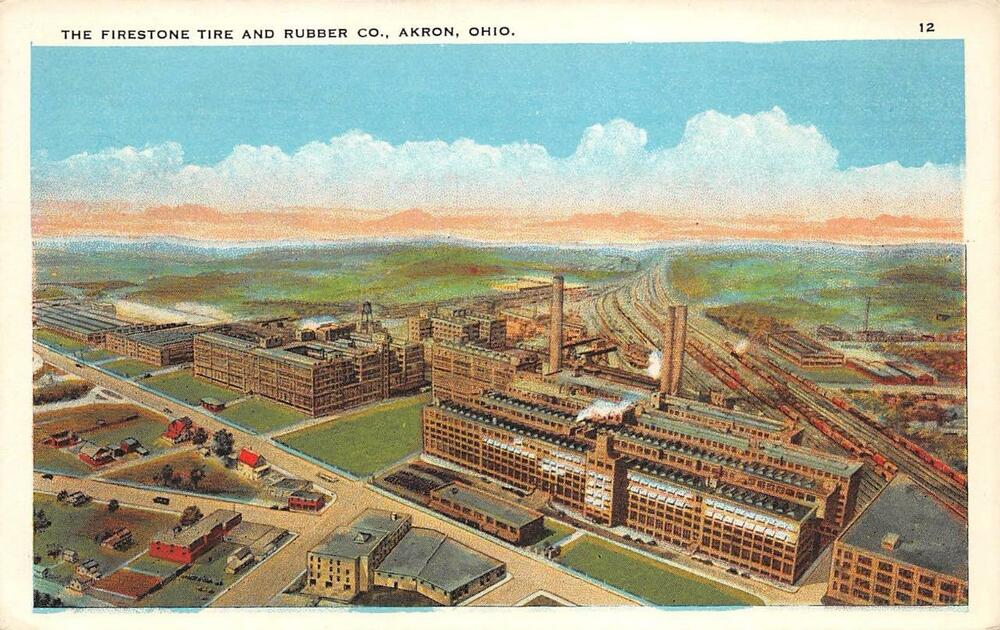 Akron Oh Firestone Tire Amp Rubber Co Ohio Vintage Postcard