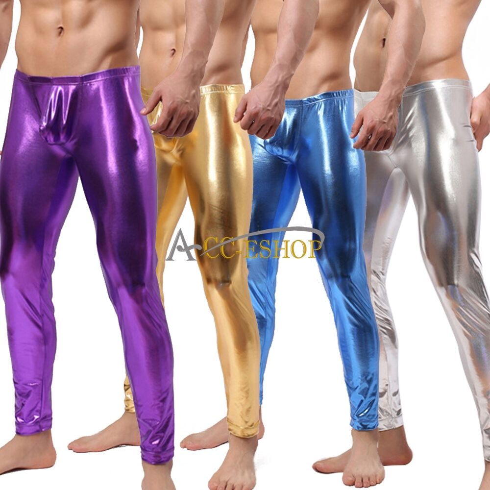 sexy mens wet look pvc bulge pouch trousers long johns