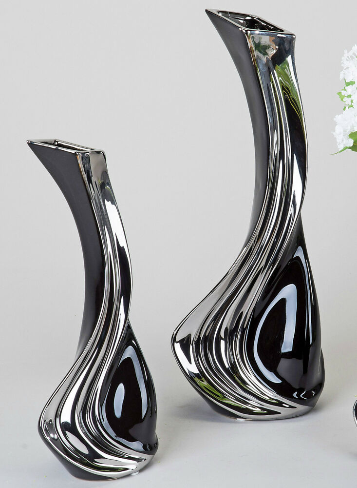 formano elegante vase keramik schwarz silber deko objekt blumenvase skulptur ebay. Black Bedroom Furniture Sets. Home Design Ideas