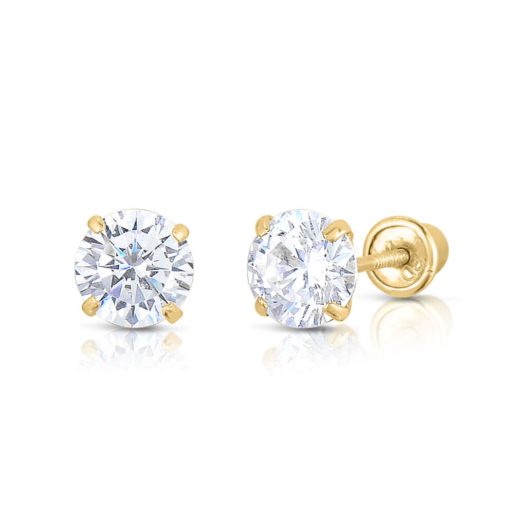 solid 14k yellow gold and cubic zirconia cz