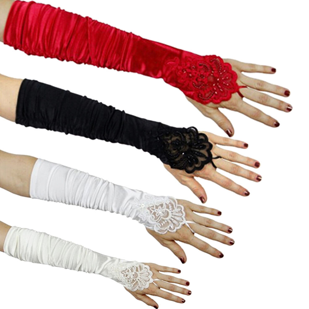 Women Bridal Party Fingerless Pearl Lace Satin Evening ...