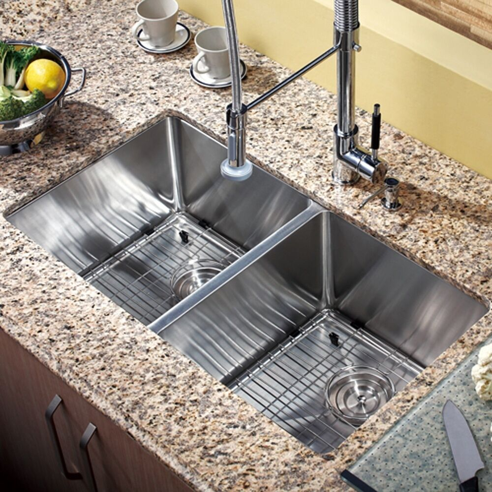 30 X 16 Double Bowl Stainless Steel Hand Made Undermount Kitchen Sink Combo Ebay