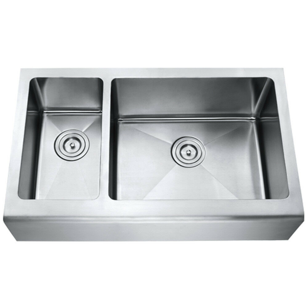 az203r 33 034 stainless steel double bowl farmhouse apron kitchen sink ebay. Black Bedroom Furniture Sets. Home Design Ideas
