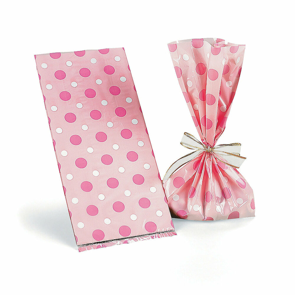 24 BABY SHOWER Party Favor Cello Goody Loot TREAT BAGS GIRL PINK ...