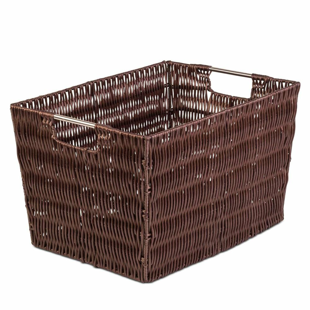 Costway Large Woven Seagrass Storage Basket Wicker Pattern Basket s Handles Organizer. Black and Blue Trimmed Woven Storage Baskets - 16