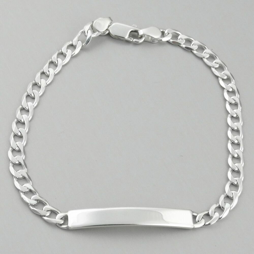 8 sterling silver id bracelet curb link chain 5mm. Black Bedroom Furniture Sets. Home Design Ideas