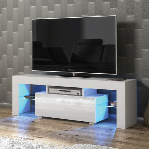 Modern Tv Unit 130cm Cabinet White Matt And High Gloss Doors Free Led