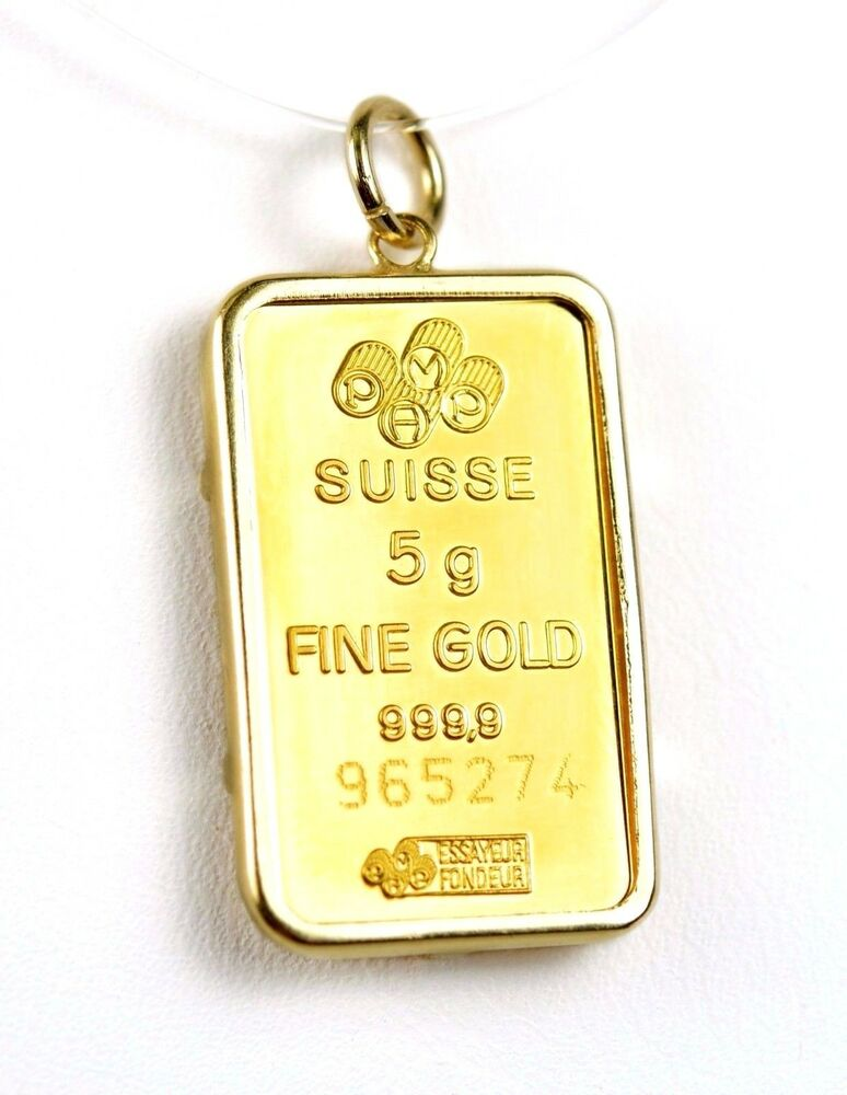 Pamp Suisse 5g 999 9 Fine Gold Bar In 14k Yellow Gold