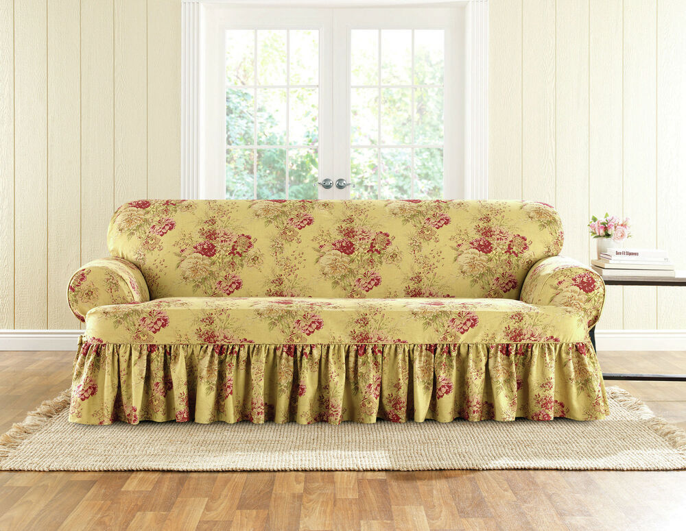 Sure Fit Ballad Bouquet Sofa Skirted T Cushion Slipcover