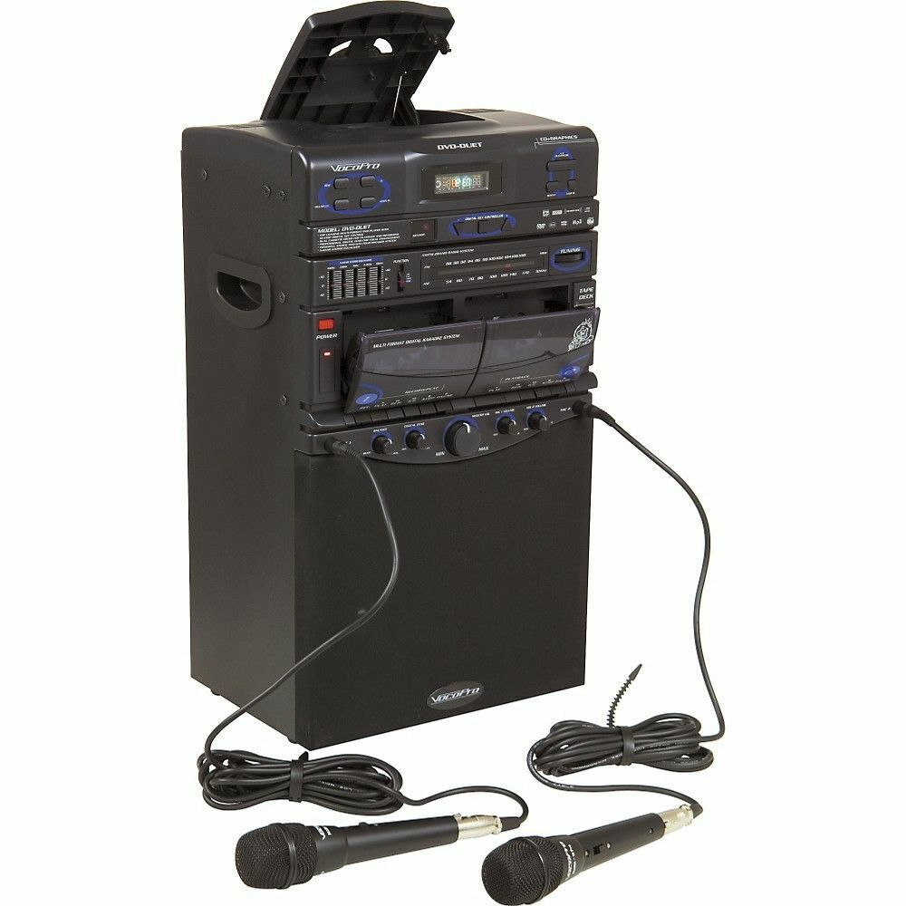 vocopro dvd duet all in one portable karaoke pa system w mics cd cassette ebay. Black Bedroom Furniture Sets. Home Design Ideas