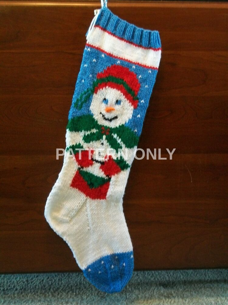 Pattern Only Hand Knitted Mrs. Snowman Christmas Stocking eBay