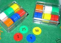 4 X SETS OF 60 NUMBERED POKER CHIPS + CASE ROULETTE