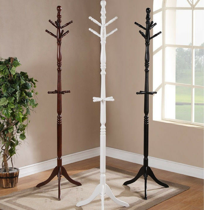 coat hanger stand 6 hooks cherry twist center stand tree solid wood 29353