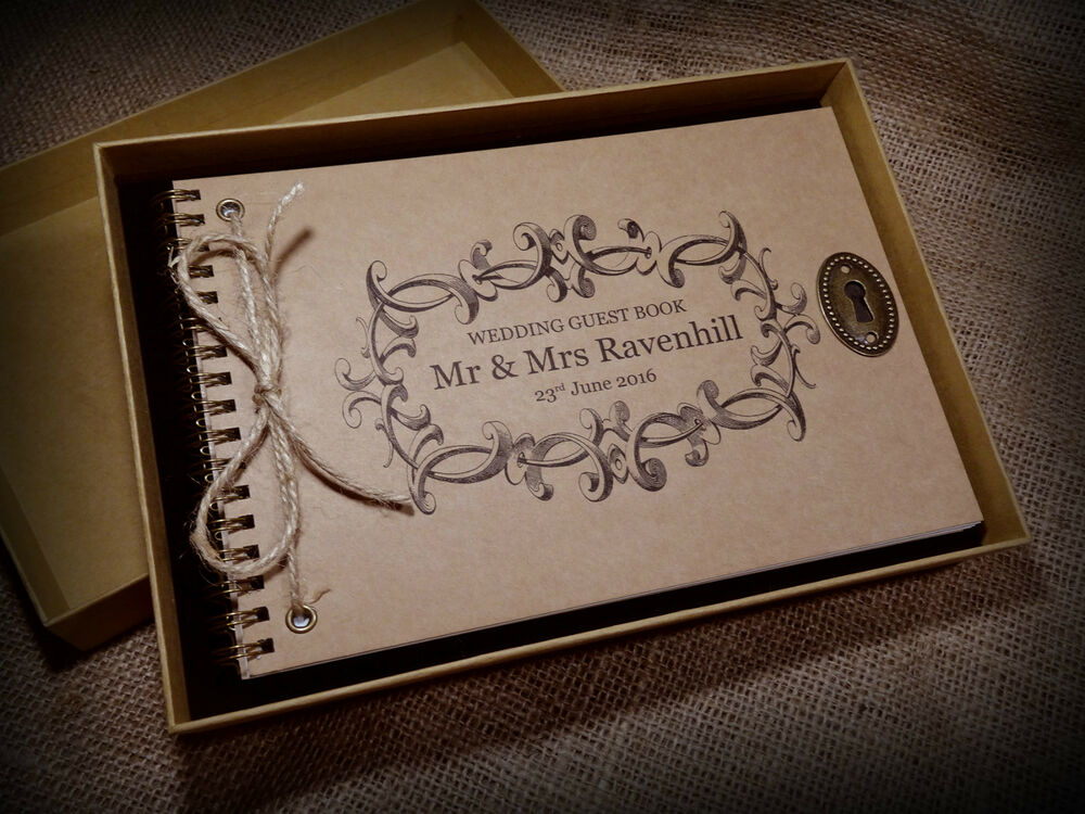 Personalised vintage wedding engagement guest book for Photo wedding guest book
