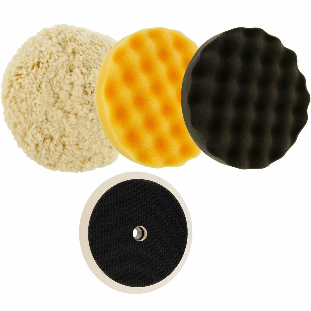 Waffle Foam & Wool Buffing & Polishing Pad Kit W/ 3