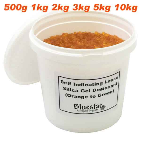 Silica Gel Desiccant Granules Beads Self Indicating Loose In Resealable Tubs