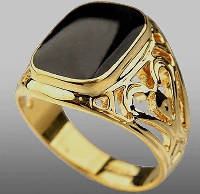 Yellow Gold Plated Black Onyx Pattern Mens Ring Boy Signet Pinky Band K To Z 3