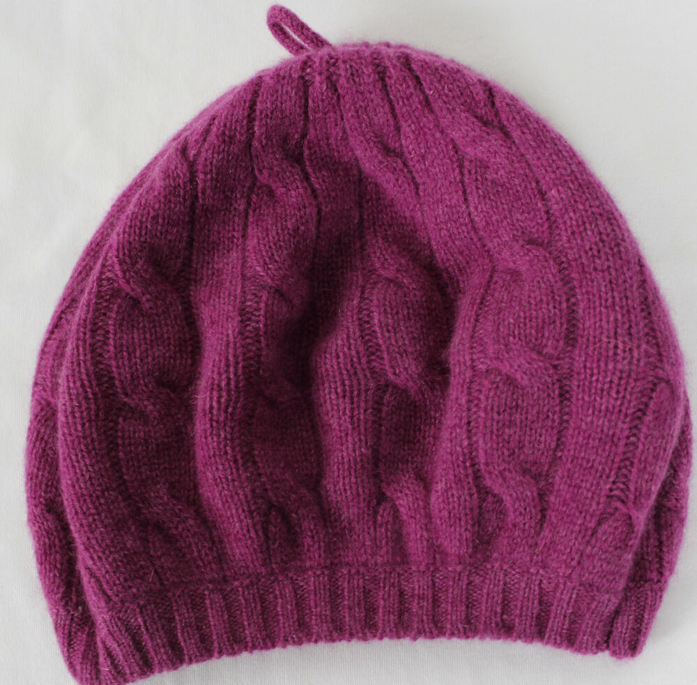 Ralph Lauren Polo Cashmere Beanie Beret Cable Knit Womens One Size Dark Pink ...