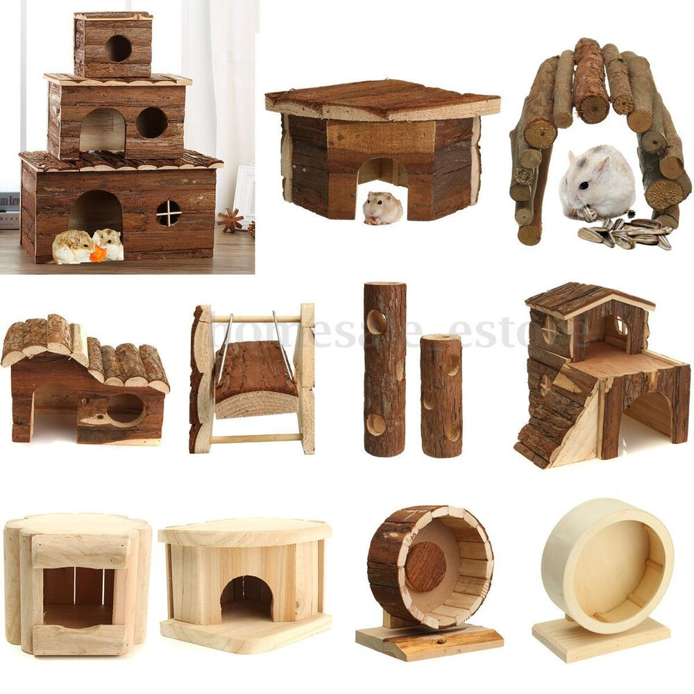 Guinea Pig Toys : Wooden house villa cage exercise toys for hamster hedgehog