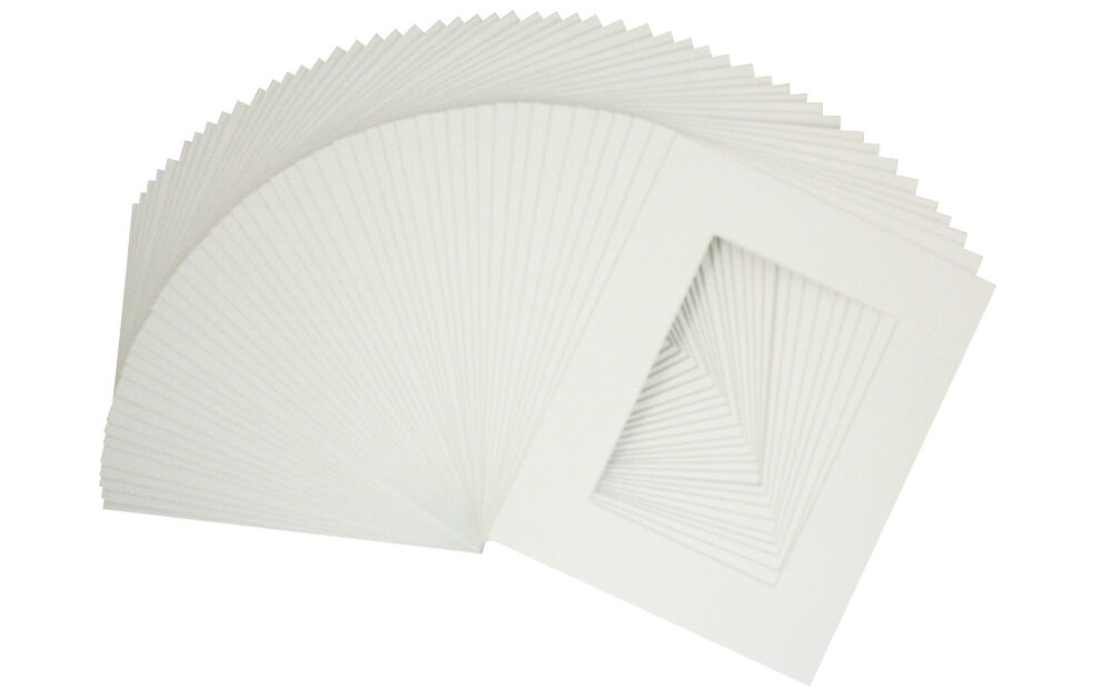 Set Of 100 8x10 White Pre Cut Mat For 5x7 Photos With