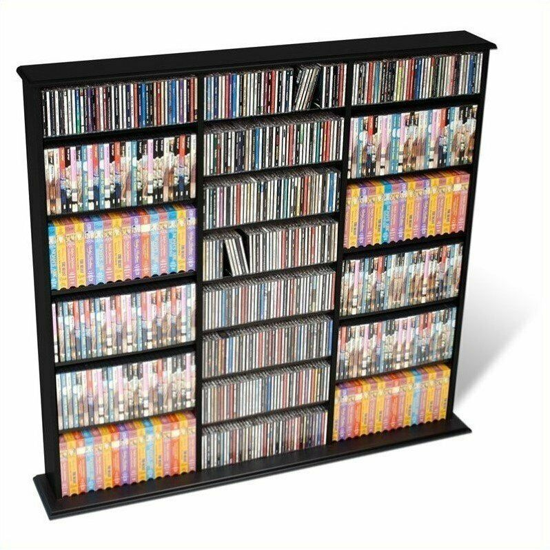 Prepac 51 triple cd dvd wall media storage rack wood In wall dvd storage