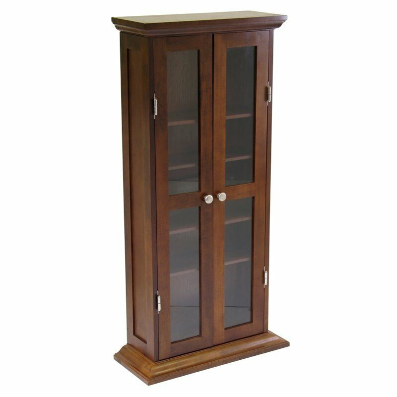 Quot cd dvd media storage cabinet wood glass medium in