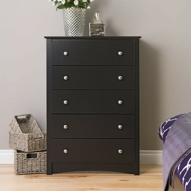 Five Drawer Chest ~ Prepac sonoma black drawer chest wood of drawers