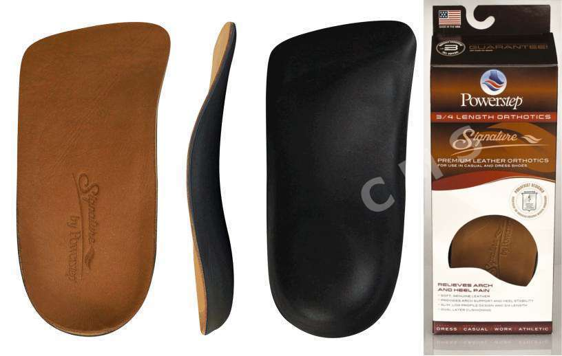 POWERSTEP SIGNATURE SERIES LEATHER 3/4 Length Shoe Insoles ...