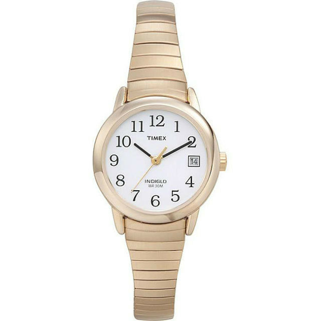 timex indiglo gold tone stretch expansion white