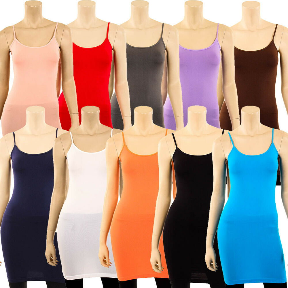 bec138bbb14 Details about Extra Long Stretch Camisole Tank Top Spaghetti Strap Dress  Slip Tunic Fits S M L