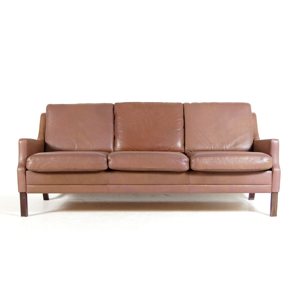 Retro Vintage Danish Mid Century Leather 3 Seat Seater Sofa Settee Modern 1960s Ebay