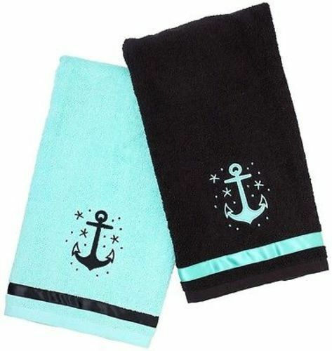 Nautical Flags Bath Towels: Sourpuss Anchor Set Nautical Rockabilly Punk Goth Pinup