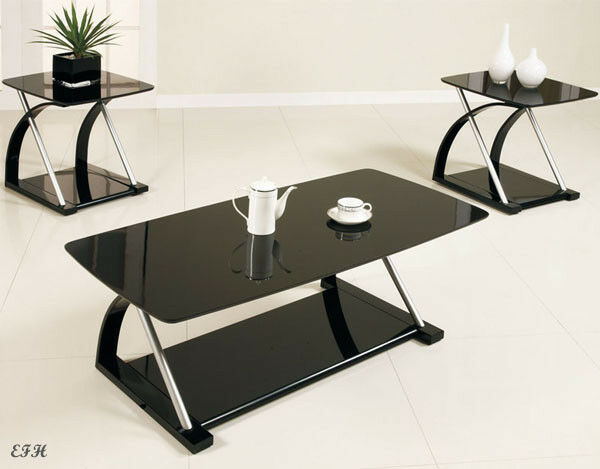 new 3pc zebe modern sleek black glass silver metal coffee end table set ebay. Black Bedroom Furniture Sets. Home Design Ideas