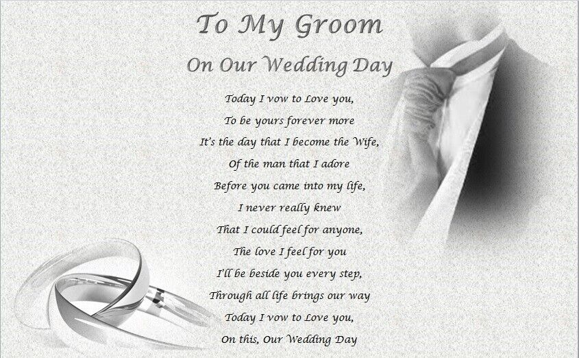 Wedding Gift For Husband To Be: MY GROOM - On Our Wedding Day