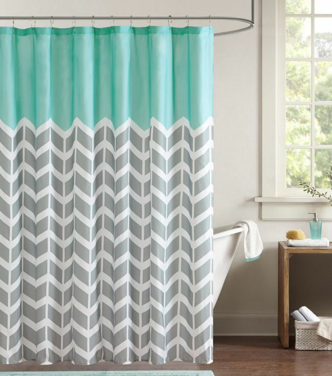 Chevron Shower Curtain Zigzag Stripes Geometric Print Bath Grey Teal Bathroom