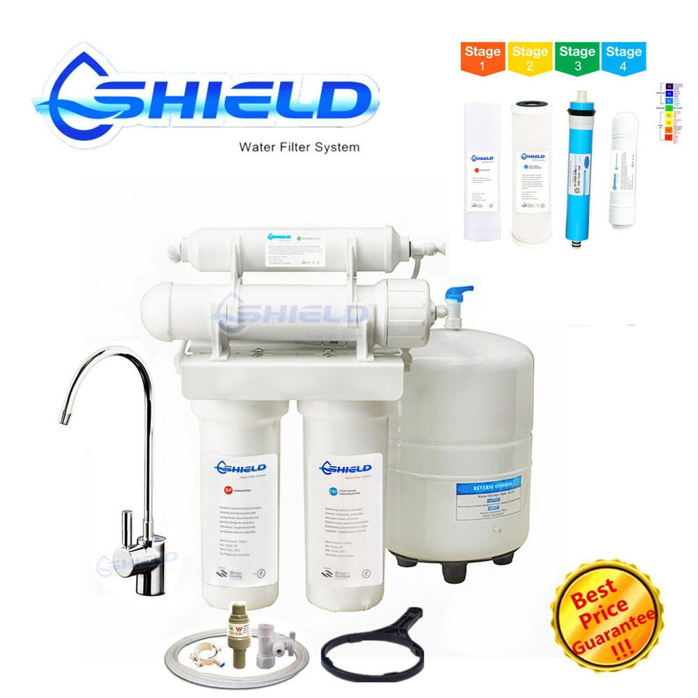 4 stages weak alkaline reverse osmosis water filter system usa ro membrane ebay. Black Bedroom Furniture Sets. Home Design Ideas