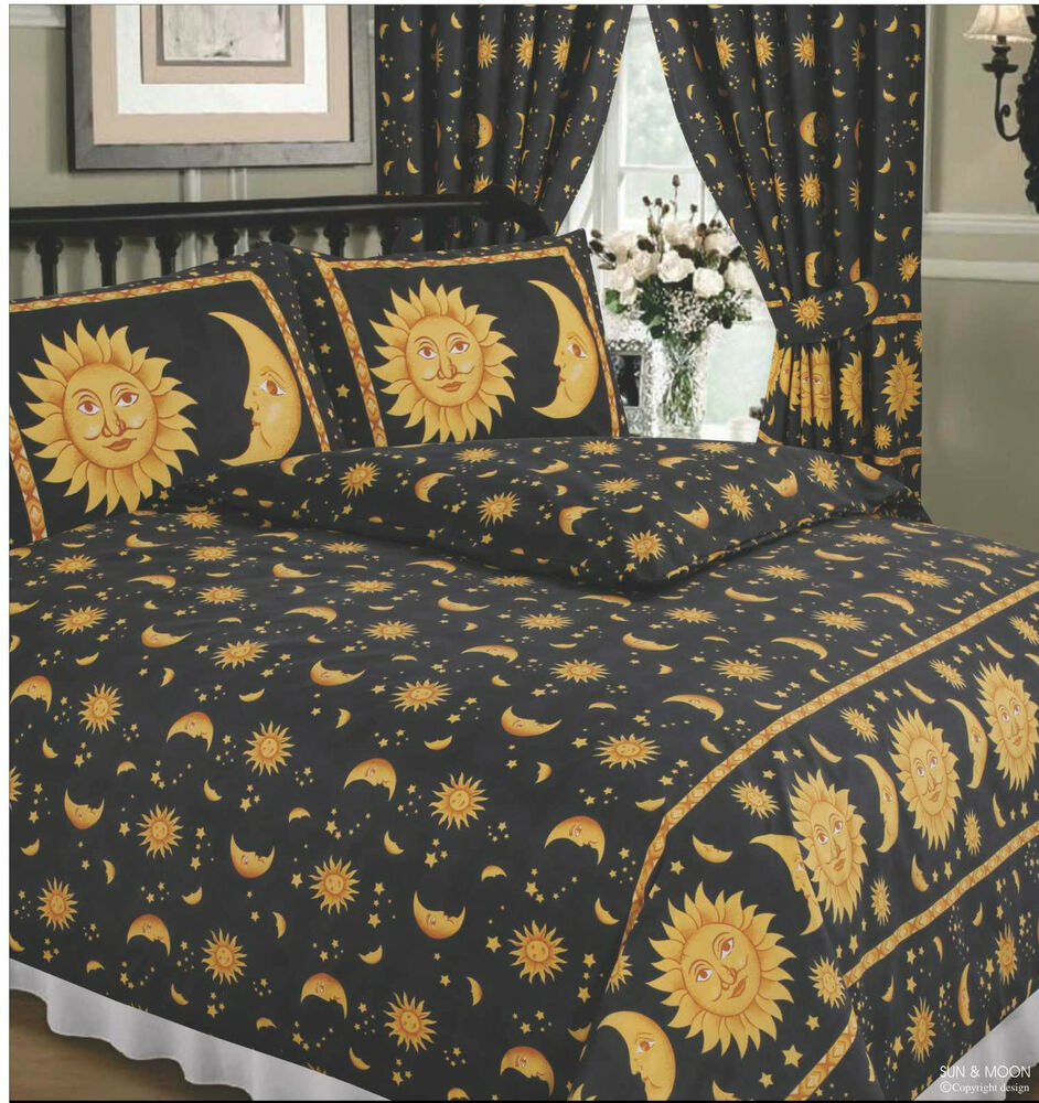 king size duvet cover set sun and moon black yellow gold stars border 68 pick ebay. Black Bedroom Furniture Sets. Home Design Ideas
