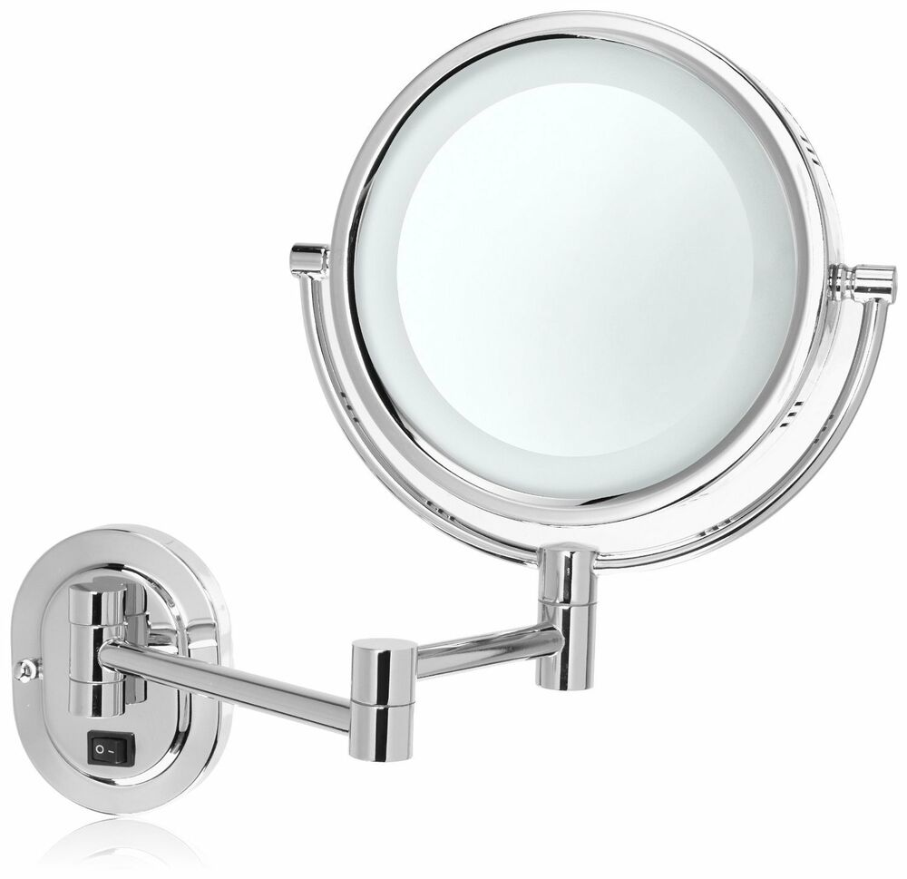 Two sided lighted make up mirror wall mounted swivel 1x 5x for Wall mounted makeup mirror