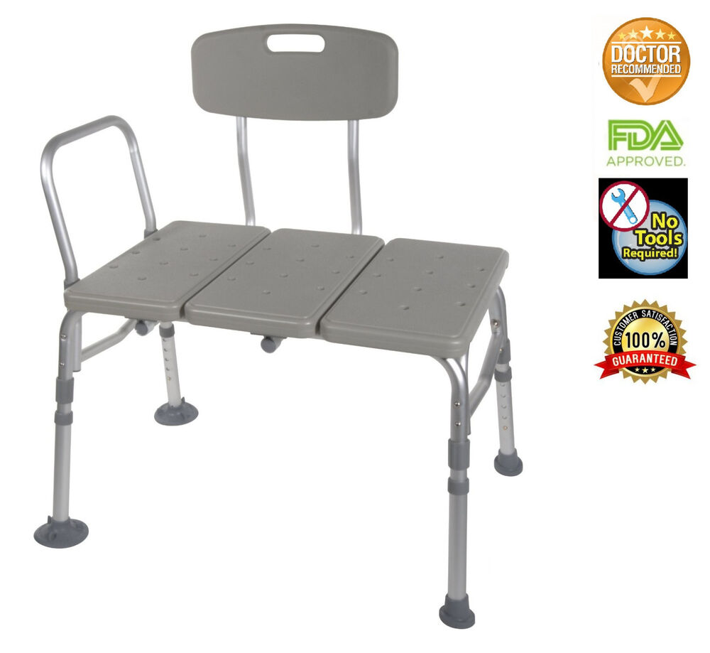 Transfer Bench Adjustable Height Legs Lightweight With Back Non Slip Seat Grey Ebay